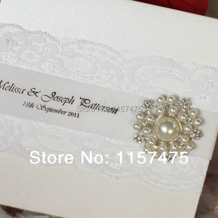 dupioni featuring product ivory silk invitation crystal brooch lace silver wedding vintage invitations
