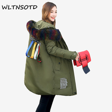 2017 New cotton winter coat women long Solid Hooded Fur collar warm printing pattern ribbon jacket Female fashion Parkas