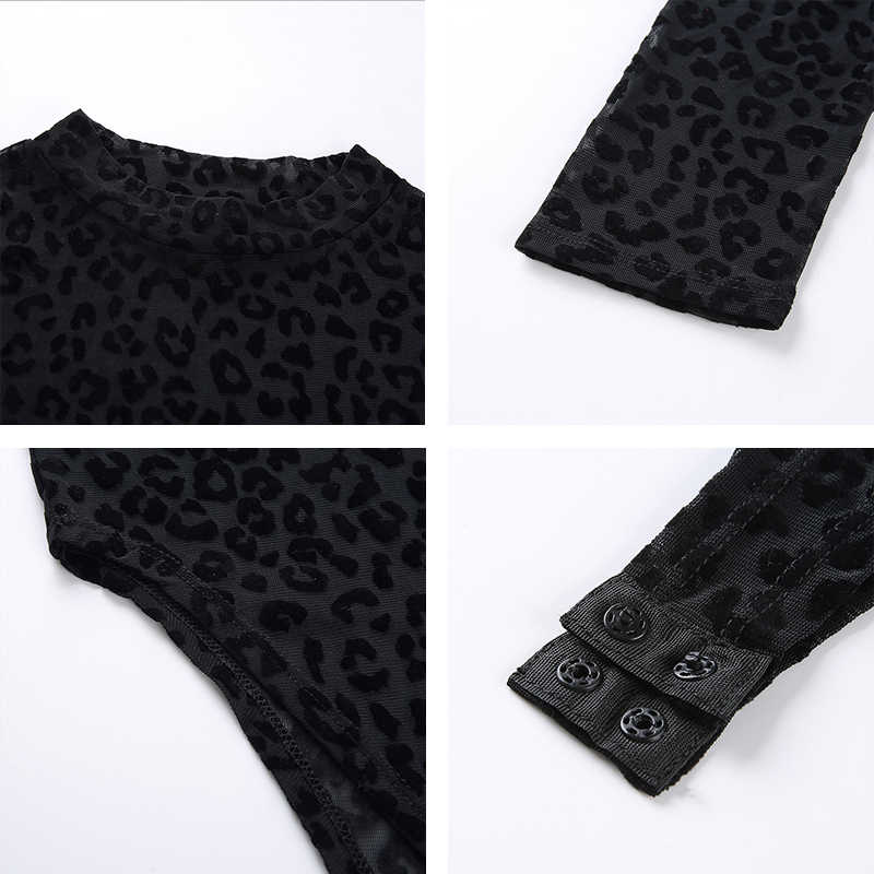 Rapwriter сексуальный перспективный сетчатый Леопардовый боди для женщин 2019 пружинная подставка воротник длинный рукав облегающий прозрачный открытый промежность боди 9