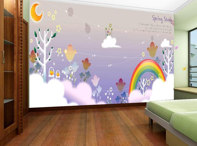 Name Wallpapers Fairy Tale Dream Rainbow Moon Night Sky Children S Room Wallpaper