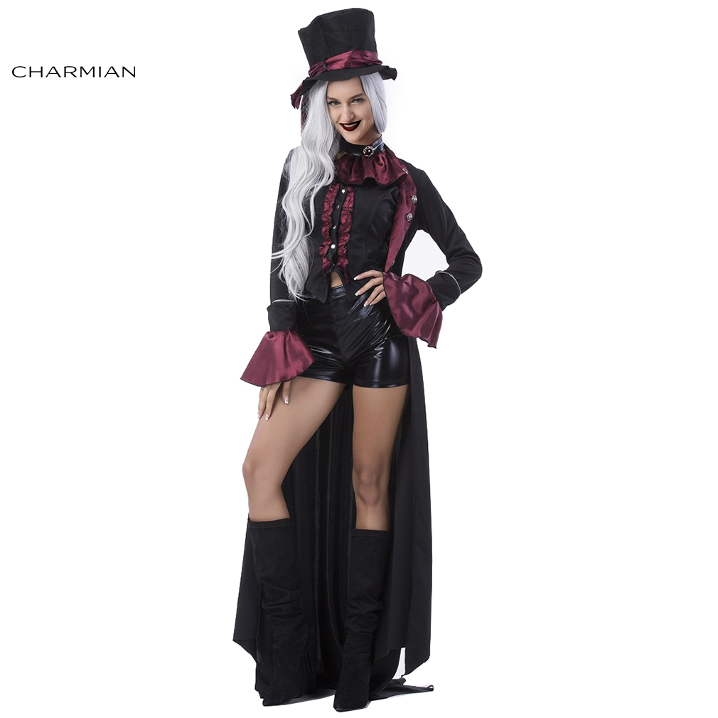 Charmian Delxue Women Vampire Cosplay Costume Adult Gothic Vampire Mini Costumes Halloween Carnival Costume Fancy Dress Party