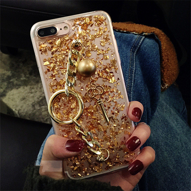 For Samsung S5 S6 S7 edge S8 Plus Note 4 5 8 A3 A5 A7 2016 2017 Luxury Glitter gold foil Key Bracelet Phone Case Soft Back cover