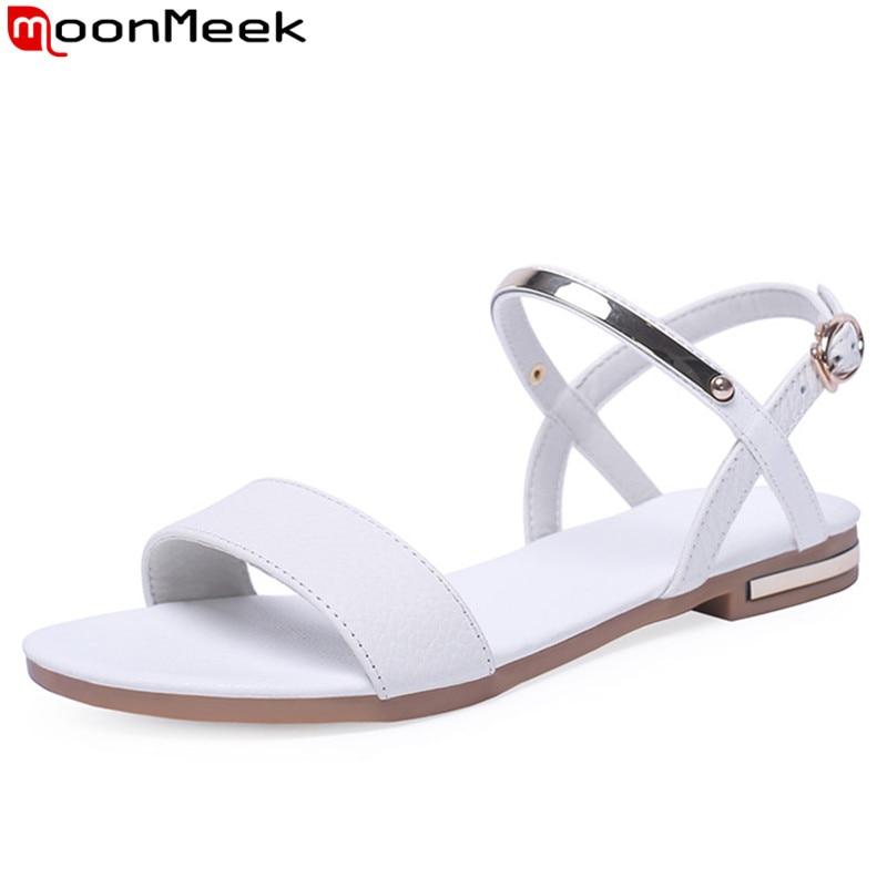 Con Grande 34 Verano Cuero Casual Mujeres 46 Zapatos Genuino 2019 Sandalias De Cómodo Hebilla Moonmeek Plano Talla Mujer iukTXZPO