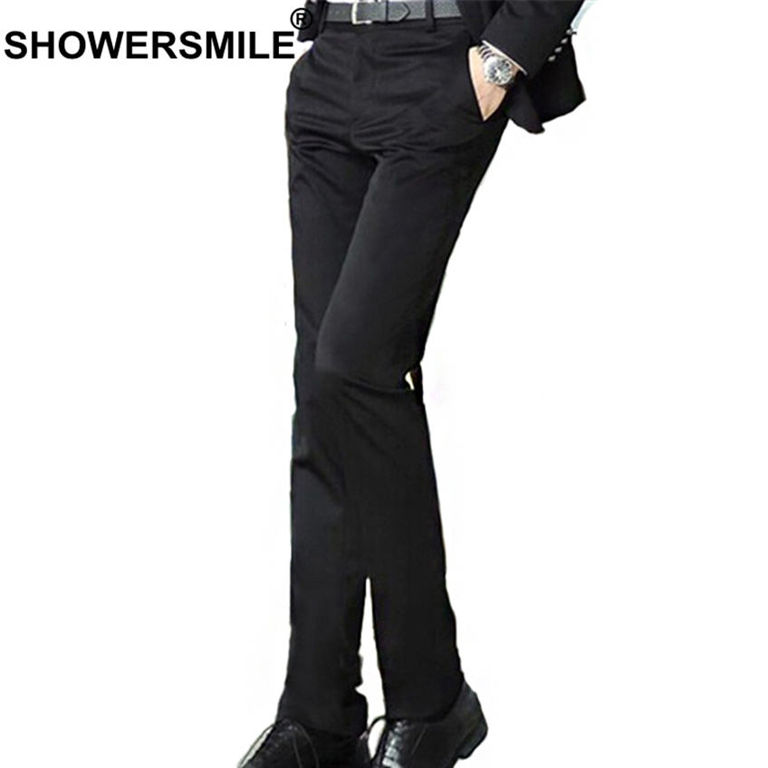 SHOWERSMILE Black Men Dress Pants Formal Slim Fit Male Work Suit Business Trousers Spring Autumn Office Mens Clothing