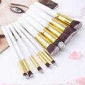 10 Unids Pincel de Maquillaje Profesional Establece Cepillos Negro Suave Pelo Sintético compone el Kit de Herramientas Cosmética Belleza