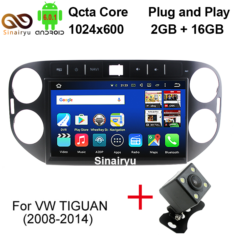 Sinairyu 2GB RAM 32GB ROM 8 Core 10.1 Inch Auto PC for Volkswagen VW Tiguan 2008-2014 Car DVD Player Octa Core Android 6.0 car rear trunk security shield cargo cover for volkswagen vw tiguan 2016 2017 2018 high qualit black beige auto accessories