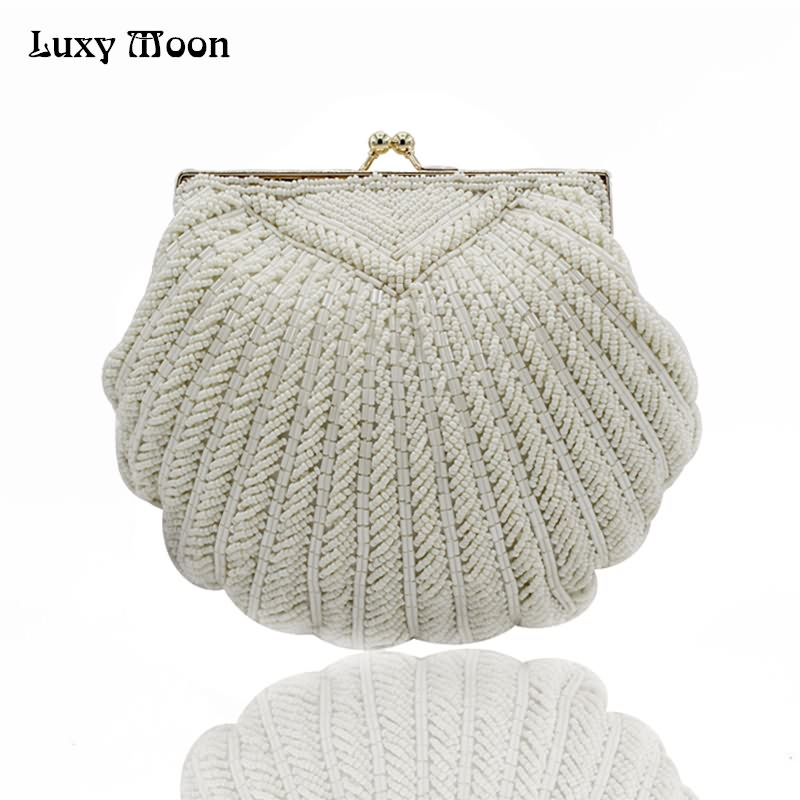 Luxy Moon Women Faux Pearl Bead Rhinestone Evening Clutch Fashion Purse with Chain Handmade Party Clutch Pearl Evening Bag ZD712 sweet rhinestone and faux pearl embellished floral double layered bracelet for women