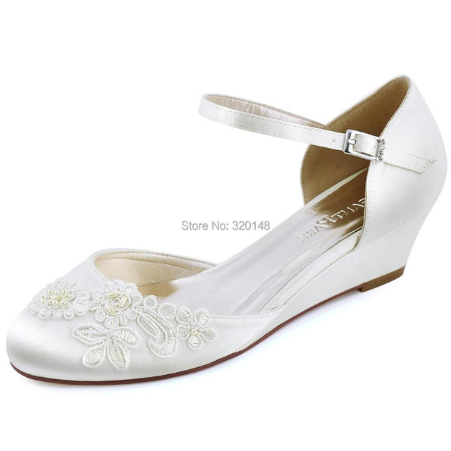 Women Wedges Ivory Mid Heel Bridal Wedding Shoes Close Toe Lique Ankle Strap Satin Bride Lady