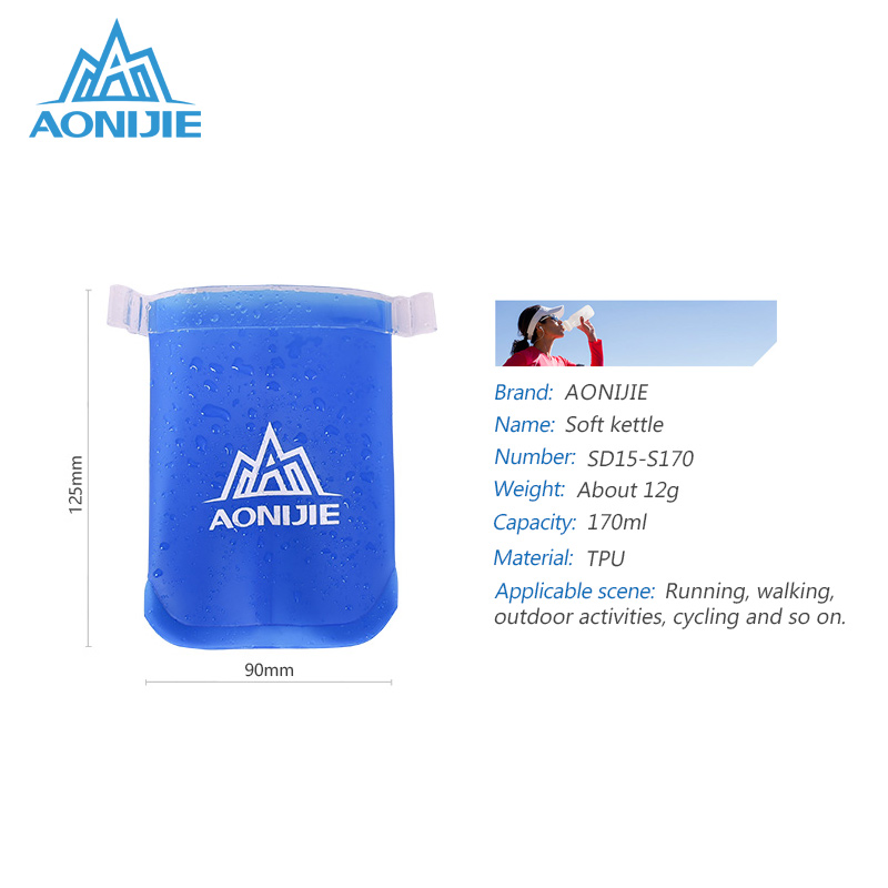 AONIJIE SD15 BPA Free Foldable Soft Water Bottle Kettle For Outdoor Sports