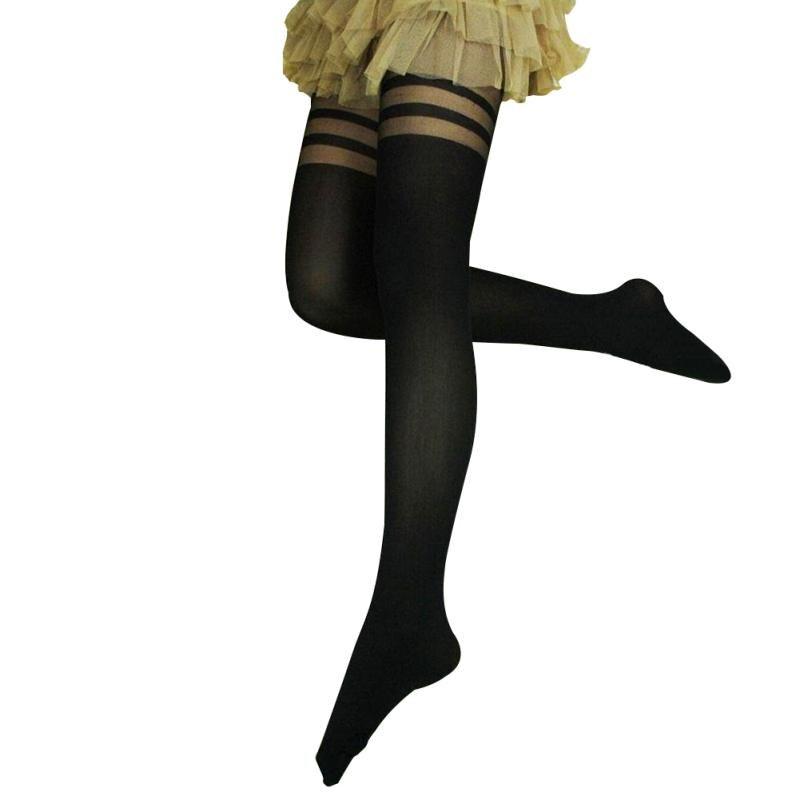 2017 Women Black SexyTemptation Sheer Mock Over The Knee Double Stripe Sheer Mock Suspender Pantyhose Tights