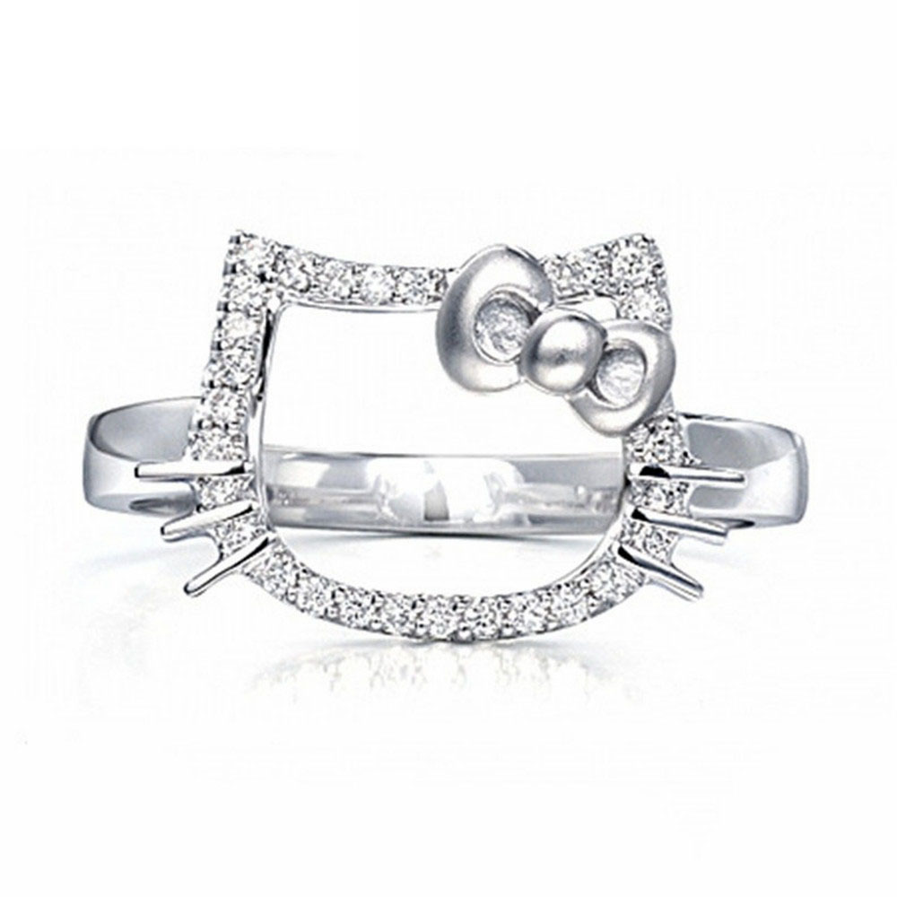 doulaimei 925 sterling silver hello kitty cat finger rings for women ring jewelry girls gift - Hello Kitty Wedding Ring