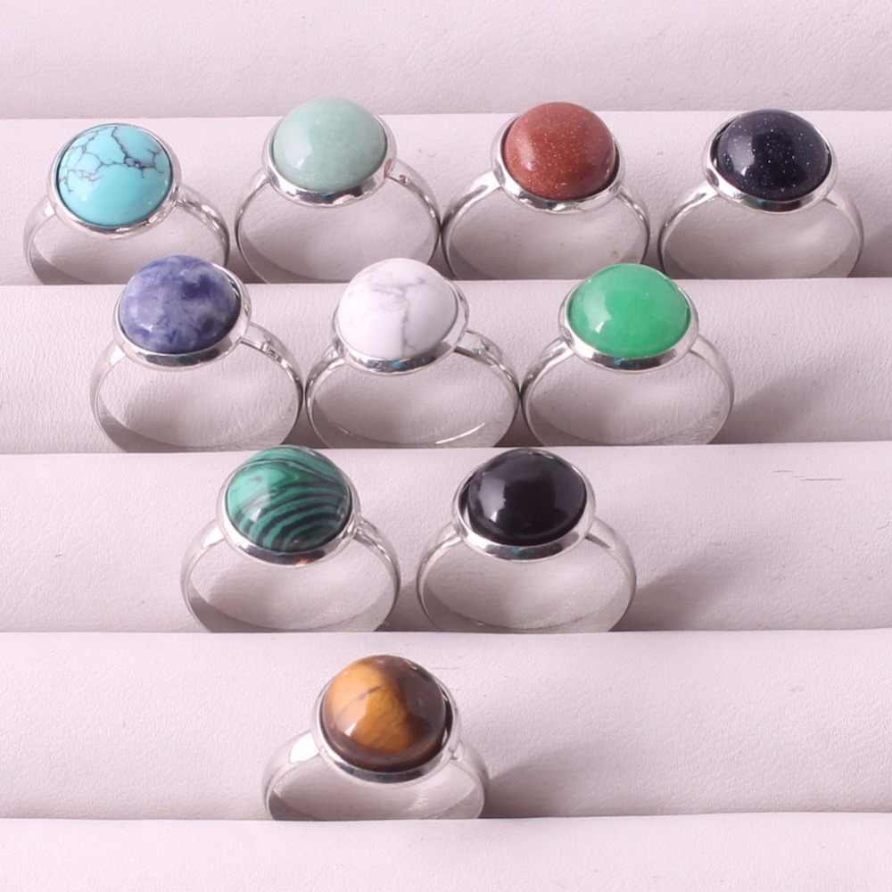 แฟชั่นเครื่องประดับ 12 pcs สีผสมหินทรายสีฟ้านิลกุหลาบ Quartzs หินธรรมชาติแหวนแต่งงานแหวน