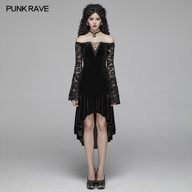 PUNK RAVE Women's Gothic Victorian Velvet Lace Long Sleeve Black Dress Strapless Christmas Halloween Evening Party Sexy Dress