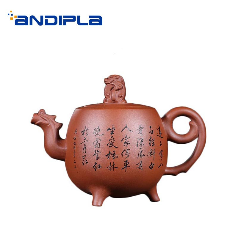 Tetera de arcilla púrpura Yixing auténtica de 460ml con relieve Animal Zisha, tetera, colección de decoración del hogar