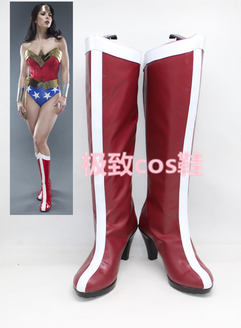 1:1 supergirl cosplay long boots Wonder Woman Classic Cosplay boots Role Play Princess Diana Comic Con Shoes large size