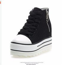 Fashion 2017 Womens Wedges Platform Shoes White Canvas Women Hidden Height High Top Increasing 9cm Zapatos size35-39