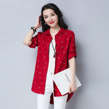 #2915 Red Blue Casual Long Sleeve Shirt Print Elegant Slim Long Shirt For Women Plus Size Asymmetrical Shirt Tunic Femme XXXXL long sleeve plus size palm print asymmetrical t shirt