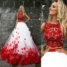 Fashion Russia Red Wedding Dresses 2017 Two Pieces A-Line Appliqued Bridal Gown Beach Wedding Gown Roes Vestido de Noiva OM02