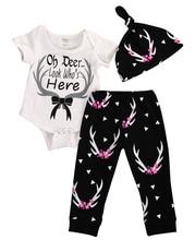 Newborn Baby Girl Reindeer Tops Bodysuit Toddler Cartoon Dear Pants Kids Legging Hat Outfits Infant Autumn Clothes Set