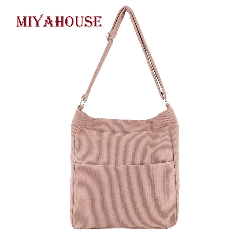 Us 14 19 46 Off Miyahouse An Style Corduroy Shoulder Bags For Female 2019 Casual Solid Color Book Bag Women Fashion Zipper Travel Handbag New In