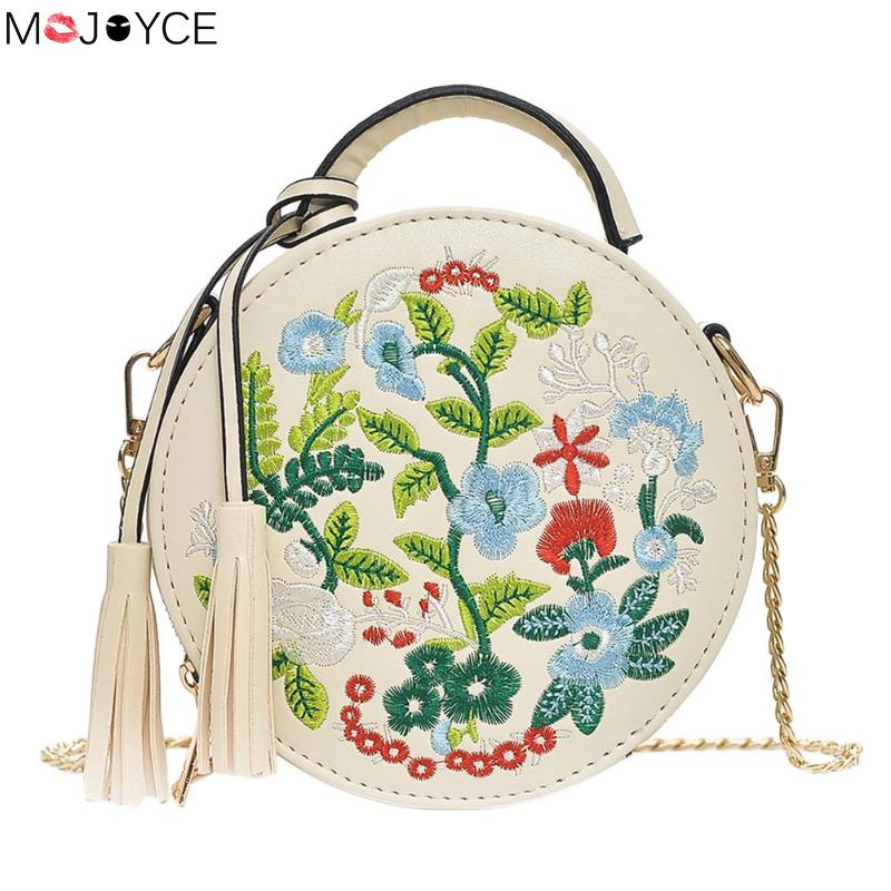 Для женщин с вышивкой в стиле ретро цветы сумки Искусственная кожа кисточкой сумка для дамы вечерние круглый сумка женская сумка кошелек