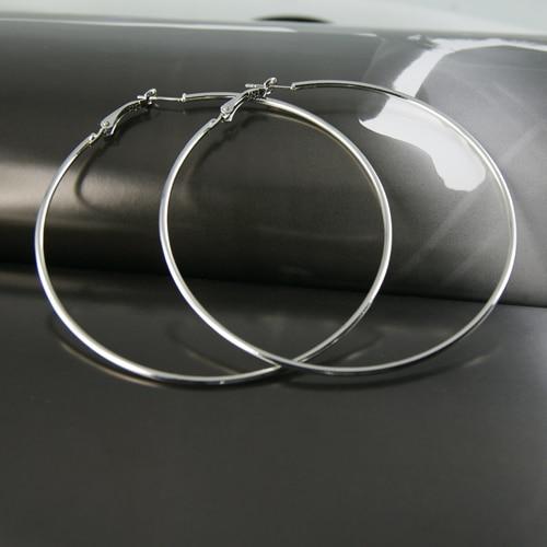 1dcec802c4317 US $1.0 20% OFF|Fashion cheap Alloy Hoop Earring female Wholesale online  Silver Punk Style funky earrings for women girls silver earrings party-in  ...