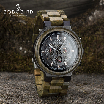 BOBO BIRD Green Sandalwood Wooden Watch Men Timepieces Chronograph Quartz Watches Ultra-Light relogio masculino Great Gifts - discount item  44% OFF Men's Watches