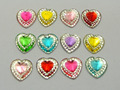 100 Mixed Color Acrylic Flatback Heart Rhinestone Gems 12X12mm Pyramid Cone Center