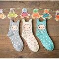 Al por mayor marca de moda de Harajuku Japonés kawaii algodón de las mujeres de dibujos animados de navidad calcetines meias chaussette calcetines mujer femme