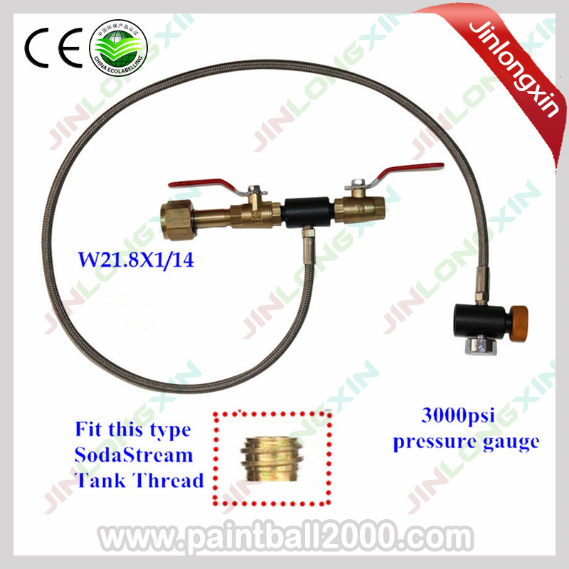 SPUNKY W21.8X114 Thread 36 High Pressure Hose Co2 Fill Station for Filling SodaStream Tank with Gauge