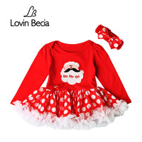 Lovinbecia Fashion Newborn Christmas Party Clothing Infant Girl Rompers Mini Bow Dress Baby Girls Cotton Jumpsuit