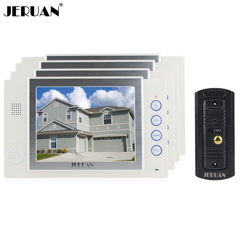 JERUAN 8 inch TFT video door phone Recording intercom system 4 monitors + 700TVL IR Night vision pinhole Camera 8GB TF card tmezon 4 inch tft color monitor 1200tvl camera video door phone intercom security speaker system waterproof ir night vision 4v1