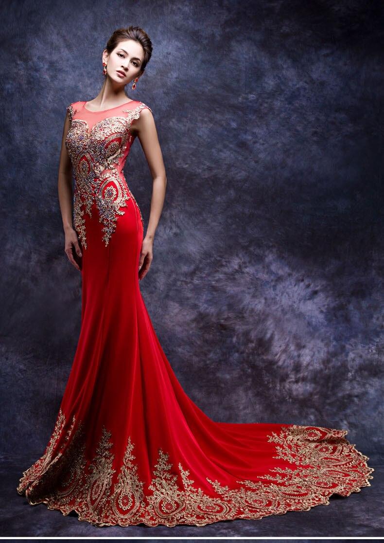 Daw3442 sirena rojo y oro tren largo vestido de boda chino con ...