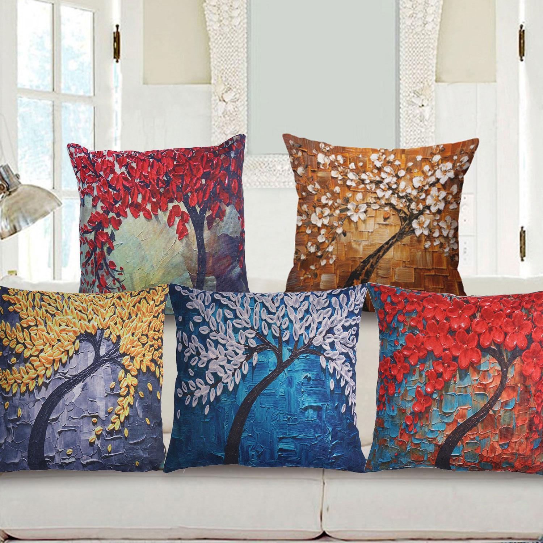 Decorative Throw Pillow Case Home Textiles 3D Oil Painting ...