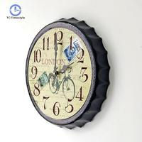 Wall Clock Stickers Restaurant Bar Decoration Pendant Creative Beer Cover Hanging European Retro Nostalgic Style Wall Clocks