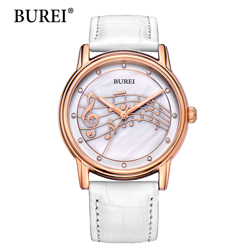 BUREI Quartz Watch Ladies Top Fashion Brand Special Design Women Leather Casual Dress Hour Female Waterproof