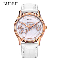 BUREI Quartz Watch Ladies Top Fashion Brand Special Design Women Leather Casual Dress Hour Female Waterproof