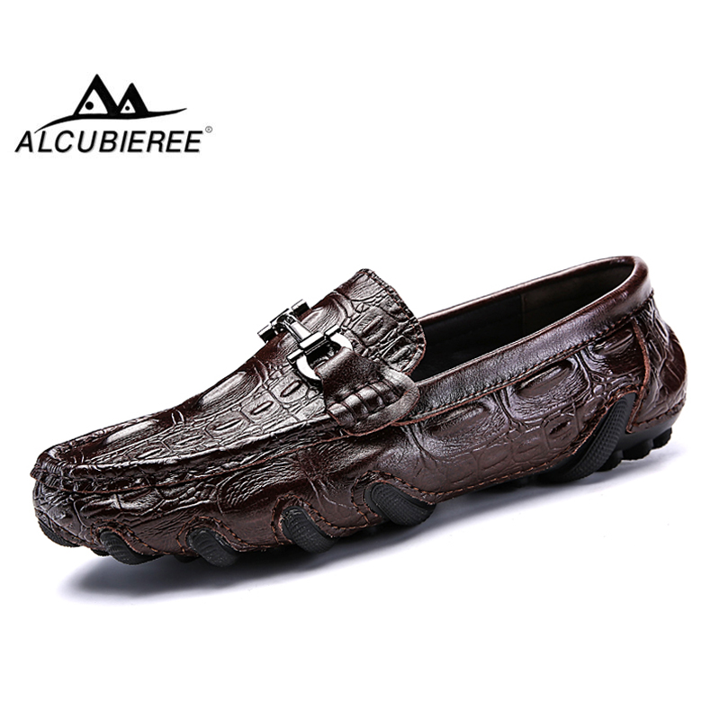 ALCUBIEREE Genuine Leather Loafers Mens Luxury Slip On Moccasins Casual Driving Shoes With Fur Winter Warm Shoes Men Boat Shoes