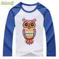 2017 Spring Cartoon Printing owl Custom Clothes Boy T Shirt Long Sleeve Cotton Girls Tee Tops Cute Baby Shirts Hot Sale DCY028