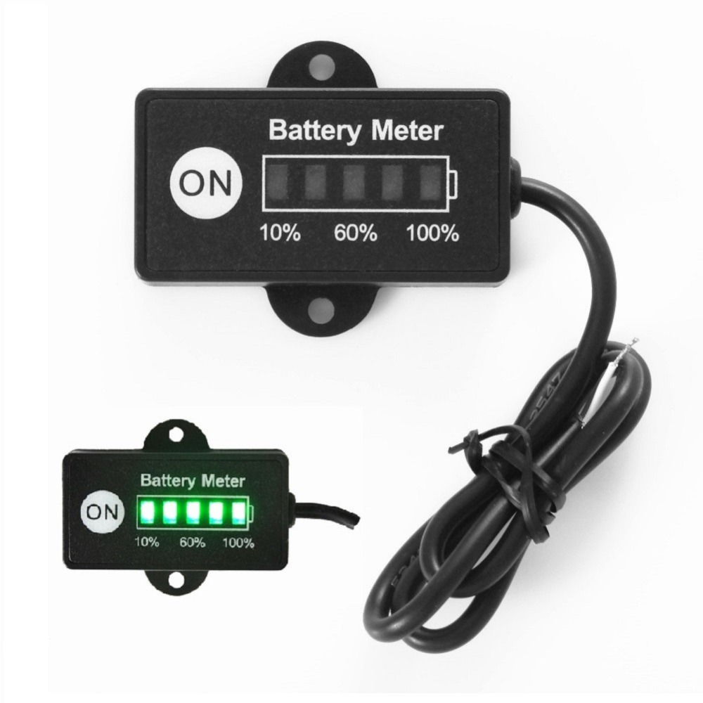 12 volt mini battery gauge 5led battery meter indicator. Black Bedroom Furniture Sets. Home Design Ideas
