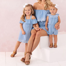 MUQGEW Mother Daughter Dresses Solid One Shoulder Mini Dress Mother and daughter clothes Mom and daughter dress Family Look