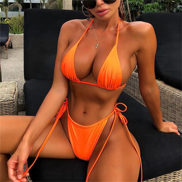 Conjuntos de Bikini de mujer de moda de neón con cuello en V Halter 2019 traje de baño de verano Sexy sin espalda conjunto de dos piezas