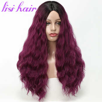 LISI HAIR Black Ombre Wine red Wig Long Wavy Wigs High Temperature Fiber Synthetic Wig For Women Black - DISCOUNT ITEM  45% OFF All Category