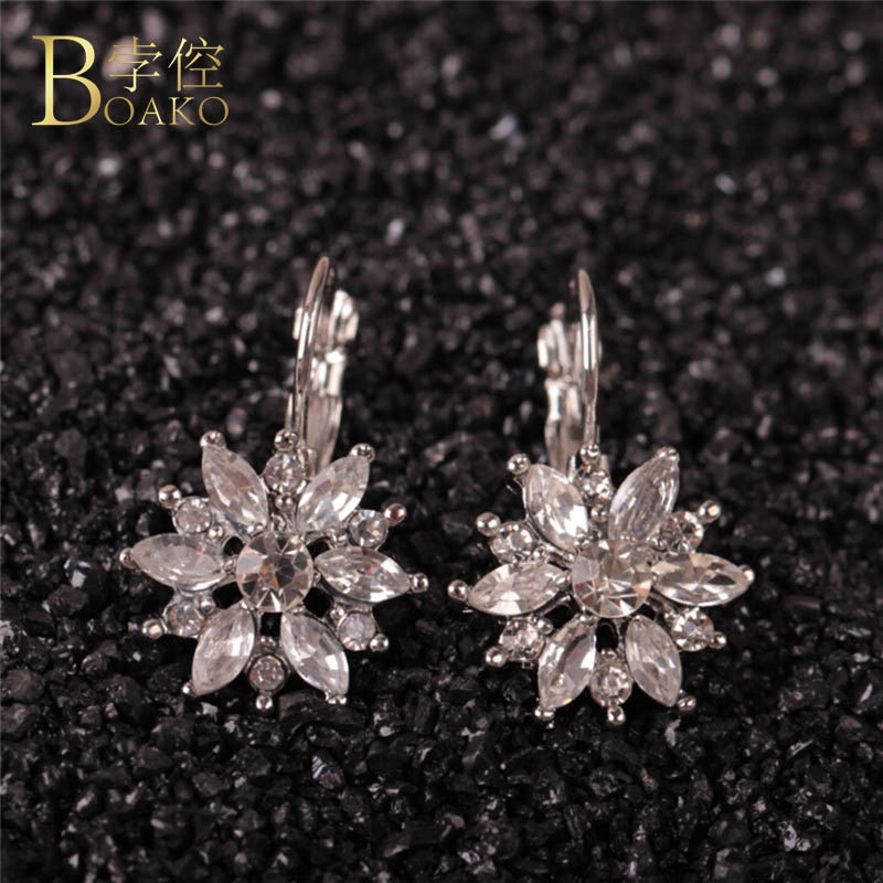 BOAKO Free Gift Box Luxury Female Zircon Stud Earrings Rose Gold Color CZ Crystal Flower Earrings For Women Wholesale Z4
