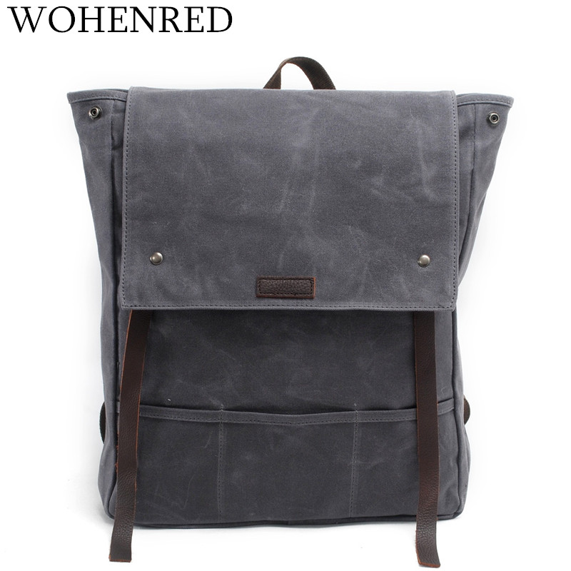 Vintage Canvas Backpack For Men Leather Travel Rucksack Large Capacity School Backpacks Male\Boy Student Leisure Shoulder Bags swdvogan new travel backpack korean women rucksack pocket genuine leather men shoulder bags student school bag soft backpacks