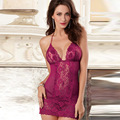 2016 das Mulheres da Alta Qualidade Sexy Lace Bordado Departamento De Pescoço Sexy Vestido Transparente Sono Lingerie Plus Size Lingerie