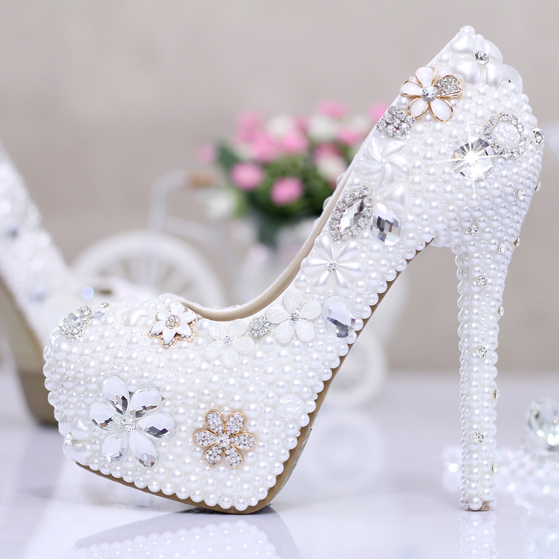 white ivory high heel pumps wedding shoes rhinestone wedding shoes ultra high heels with platform crystal