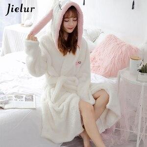 Image 5 - Jielurサンゴのベルベットのバスローブ女性漫画かわいい暖かいフード付きローブウサギフランネル着物バスローブドレッシングガウンパジャマ