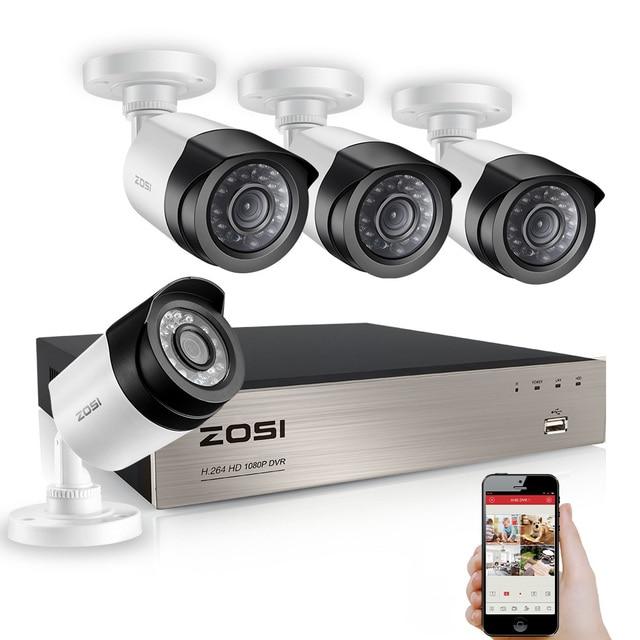 ZOSI 4CH 1080P TVI DVR 2.0MP 1080P CCTV Camera P2P Home Outdoor ...