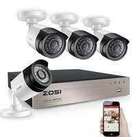 ZOSI 4CH 1080P TVI DVR 2.0MP 1080P CCTV Camera P2P Home Outdoor Security Camera Surveillance CCTV System Kits